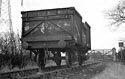 Stored wagon pushed to Mill Lane level crossing, Glenfield, by vandals