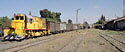 GE Diesel locomotive 40213 arrives at Dera'a station, Syria, with a freight train from Amman, Jordan