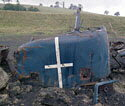 Nuclear-Flask Train Crash, class-46 locomotive cab front, Old Dalby