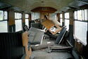 Nuclear-Flask Crash Test, inside open coach, Old Dalby