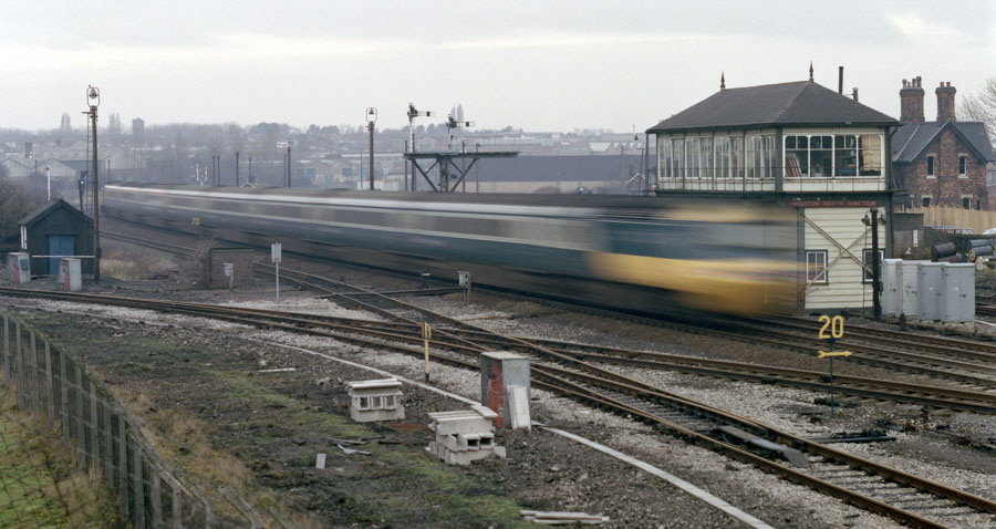 HST passing Wigston South Junction signal box