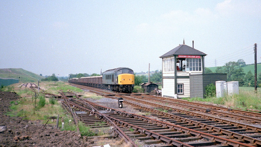"""Peak"" with stone train, Desford Colliery Sidings Signal Box"