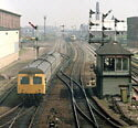 HST & dmu, Leicester North signal box, old semaphore signals