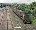 NCB 0-6-0 diesel locomotive propels a train of empty coal wagons up the incline from Seaham harbour to Seaham colliery