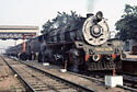 Broad gauge, class WG 2-8-2, on passenger train at Bareilly Junction station