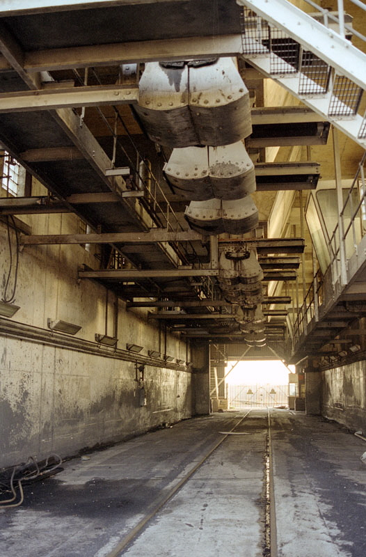 Inside the disused rapid coal loader at Bagworth, Leicestershire