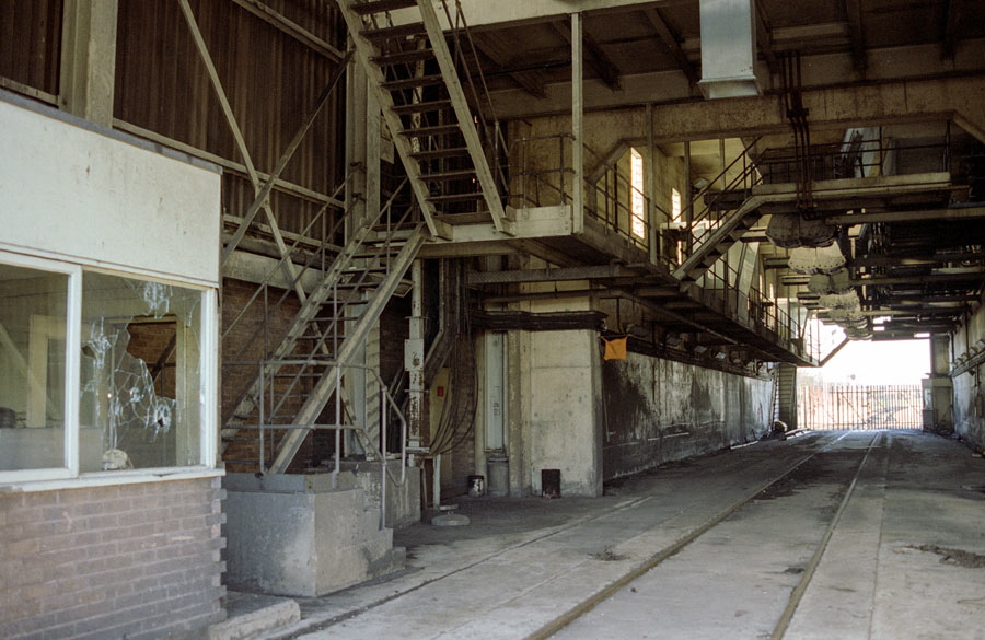 Looking inside the south end of the abandoned rapid coal loader at Bagworth