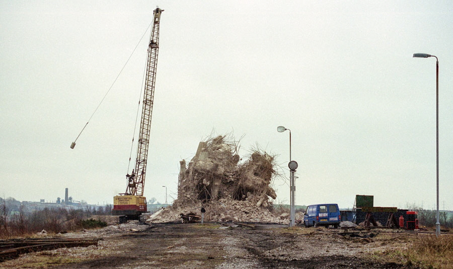 The disused rapid coal loader at Bagworth, Leicestershire, in the final stages of demolition